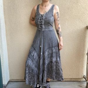 grey renaissance boho sleeveless maxi dress